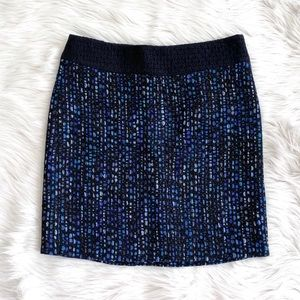 Dries Van Noten Blue Woven Wool Skirt